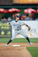 West Michigan Whitecaps second baseman Kody Clemens (21) turns a double play during a game against the Kane County Cougars on July 19, 2018 at Northwestern Medicine Field in Geneva, Illinois.  Kane County defeated West Michigan 8-5.  (Mike Janes/Four Seam Images)