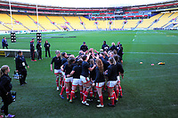 The Canada team huddles before the 2017 International Women's Rugby Series rugby match between the NZ Black Ferns and Canada at Westpac Stadium in Wellington, New Zealand on Friday, 9 June 2017. Photo: Dave Lintott / lintottphoto.co.nz
