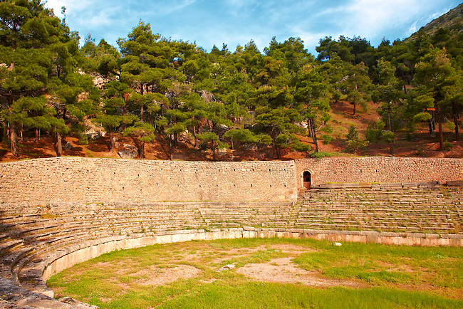 The ruins of the stadium of  Delphi, archaeological site, Greece,