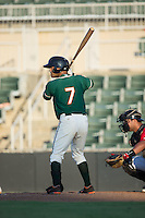Giovanny Alfonzo (7) of the Greensboro Grasshoppers at bat against the Kannapolis Intimidators at Intimidators Stadium on July 17, 2016 in Greensboro, North Carolina.  The Grasshoppers defeated the Intimidators 5-4 in game two of a double-header.  (Brian Westerholt/Four Seam Images)