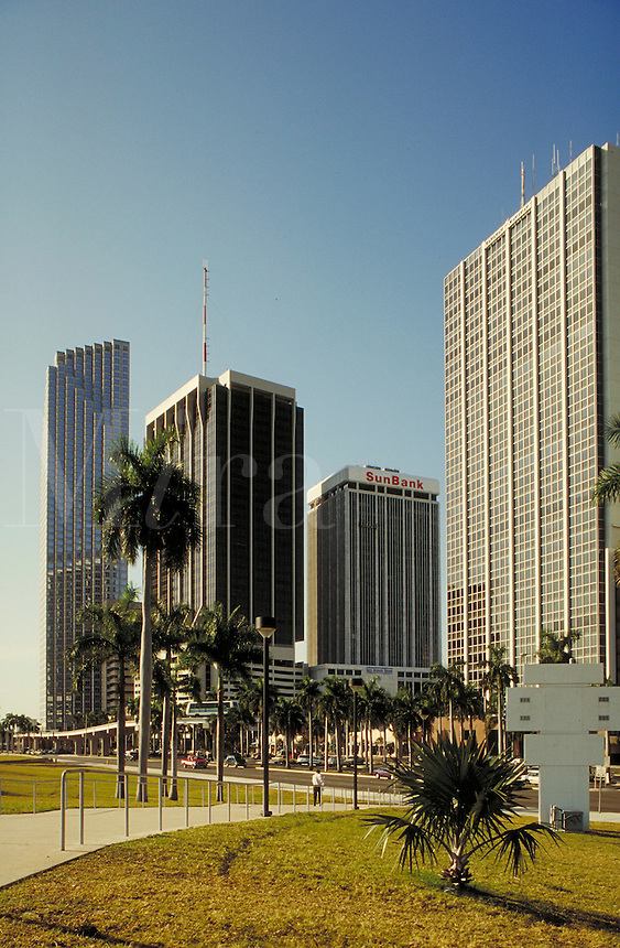 Downtown office buildings along Biscayne Boulevard in Miami, Florida.  modern architecture, cityscape. Miami Florida.
