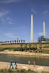 Israel, Sharon region. Orot Rabin power plant by Hadera river