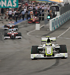 05 Apr 2009, Kuala Lumpur, Malaysia --- Brawn GP Formula One Team driver Rubens Barrichello of Brazil steers his car during the 2009 Fia Formula One Malasyan Grand Prix at the Sepang circuit near Kuala Lumpur. Photo by Victor Fraile --- Image by © Victor Fraile / The Power of Sport Images