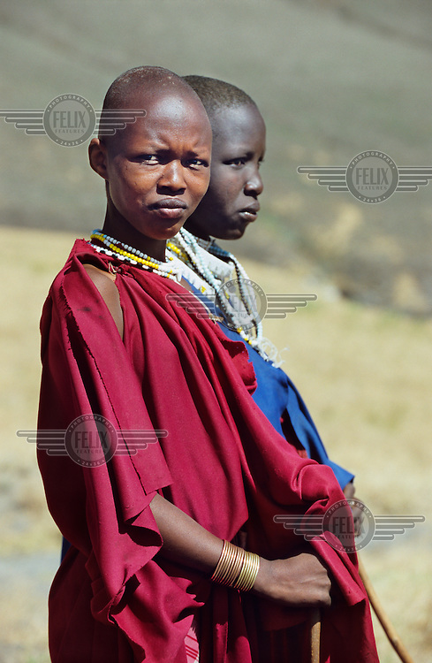 Maasai women in the Crater Highlands region, along the East African rift in Tanzania.