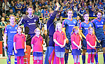 GER - Luebeck, Germany, February 06: Teams line up prior the 1. Bundesliga Herren indoor hockey semi final match at the Final 4 between Uhlenhorst Muelheim (white) and Mannheimer HC (blue) on February 6, 2016 at Hansehalle Luebeck in Luebeck, Germany.  Final score 7-5 (HT 2-3). (Photo by Dirk Markgraf / www.265-images.com) *** Local caption *** (L-R) Jan Philipp Fischer #2 of Mannheimer HC, Andreas Spaeck #1 of Mannheimer HC, Lukas Stumpf #4 of Mannheimer HC, Tomas Prochazka #5 of Mannheimer HC, Tino Nguyen Luong #7 of Mannheimer HC, Philipp Collot #13 of Mannheimer HC