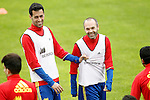 Spain's Sergio Busquets (l) and Andres Iniesta during preparing training stage to Euro 2016. May 30,2016.(ALTERPHOTOS/Acero)