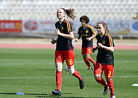 20180228 - LARNACA , CYPRUS :  Belgian Nicky Van Den Abbeele (left) and Davina Philtjens (r) pictured during warming up of the women's soccer game between The Belgian Red Flames and the Czech Republic , on wednesday 28 February 2018 at GSZ Stadium in Larnaca , Cyprus . This is the first game in group B for Belgium during the Cyprus Womens Cup , a prestigious women soccer tournament as a preparation on the World Cup 2019 qualification duels. PHOTO SPORTPIX.BE   DAVID CATRY