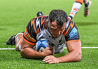 24th September 2021;  Kingsholm Stadium, Gloucester, England; Gallaher Premiership Rugby, Gloucester Rugby versus Leicester Tigers: Ellis Genge of Leicester Tigers scores a try