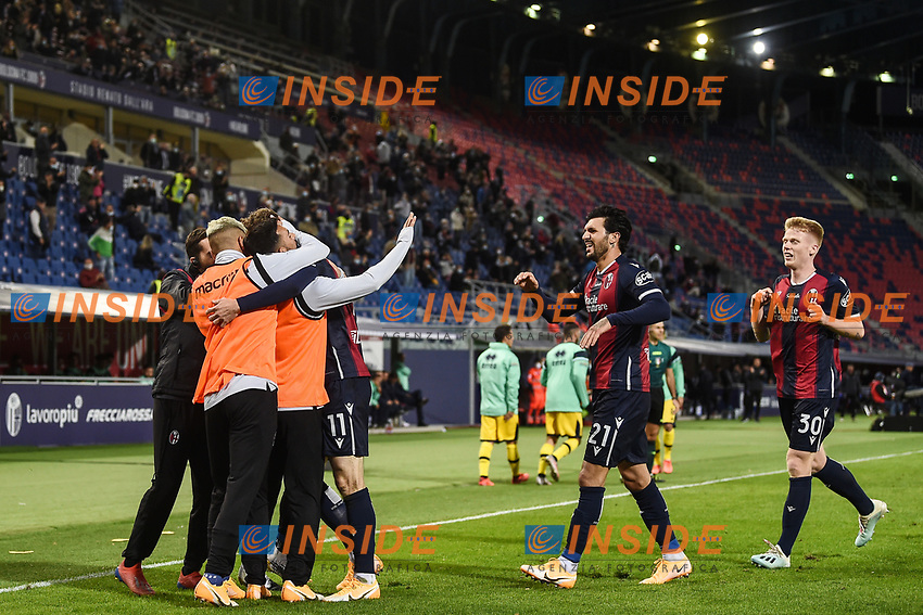 Andreas Skov Olsen of Bologna FC celebrates after scoring a  goal during the Serie A football match between Bologna FC and Parma Calcio 1913 at stadio Renato Dall Ara in Bologna (Italy), September 28th, 2020. Photo Image Sport / Insidefoto