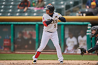 Jose Miguel Fernandez (9) of the Salt Lake Bees bats against the Albuquerque Isotopes at Smith's Ballpark on April 8, 2018 in Salt Lake City, Utah. Albuquerque defeated Salt Lake 11-4. (Stephen Smith/Four Seam Images)