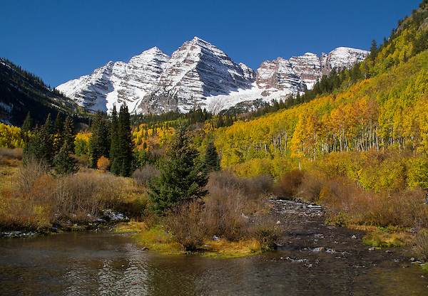 Maroon Creek with autumn Aspen trees, Maroon Bellls Peaks, Aspen, Colorado, John offers fall foliage photo tours throughout Colorado.