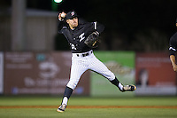 Kannapolis Intimidators second baseman Daniel Mendick (22) makes a throw to first base against the Hickory Crawdads at Kannapolis Intimidators Stadium on April 8, 2016 in Kannapolis, North Carolina.  The Crawdads defeated the Intimidators 8-2.  (Brian Westerholt/Four Seam Images)