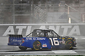 NASCAR Camping World Truck Series <br /> Active Pest Control 200<br /> Atlanta Motor Speedway, Hampton, GA USA<br /> Saturday 24 February 2018<br /> Brett Moffitt, Hattori Racing Enterprises, AISIN Atlanta Toyota Tundra celebrates his win<br /> World Copyright: Nigel Kinrade<br /> NKP / LAT Images