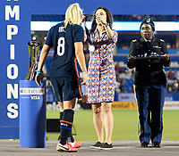 FRISCO, TX - MARCH 11: Julie Ertz #8 of the United States receives her medal during a game between Japan and USWNT at Toyota Stadium on March 11, 2020 in Frisco, Texas.