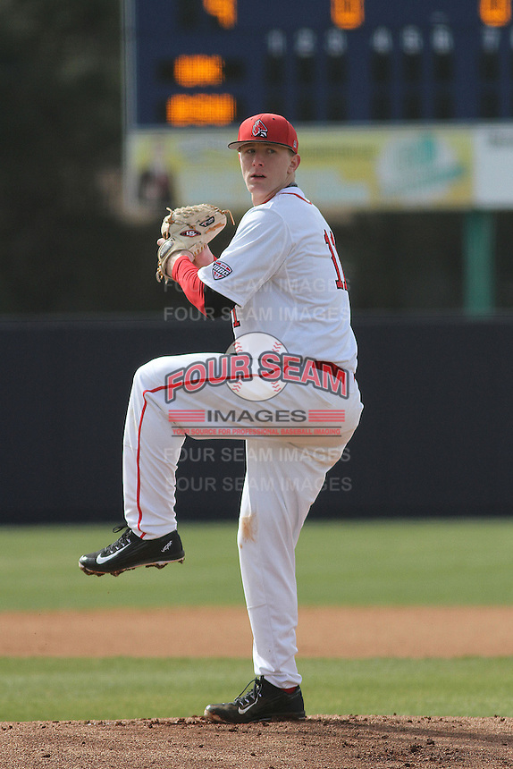Ball State Cardinals pitcher Zach Plesac (11) pitching during a game against the University of Kentucky Wildcats at Brooks Field on the campus of University of North Carolina-Wilmington on February 13, 2015 in Wilmington, North Carolina. Kentucky defeated Ball State 11-7. (Robert Gurganus/Four Seam Images)