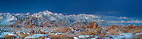902000011 panoramic view of winters dawn light on mount whitney mount russell lone pine peak and the eastern sierras mountain range with the spectacular granite boulders of the alabama hills in the foreground near lone pine in kern county california
