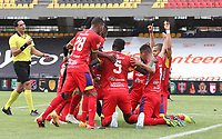PASTO - COLOMBIA,3-11-2020:Camilo Ayala del Deportivo  Pasto celebra después de anotar el primer gol de su equipo durante el partido entre Deportivo Pasto y Boyacá Chicó  por la fecha 11 de la Liga BetPlay DIMAYOR I 2020 jugado en el estadio estadio La Libertad de la ciudad de Pasto. / Camilo Ayala of Deportivo Pasto celebrates after scoring the first goal of his team during match between Deportivo Pasto and Boyaca Chico  for the date 11 BetPlay DIMAYOR League I 2020 played at La Libertad stadium in Pasto city city. Photo: VizzorImage / Leonardo Castro / Cont