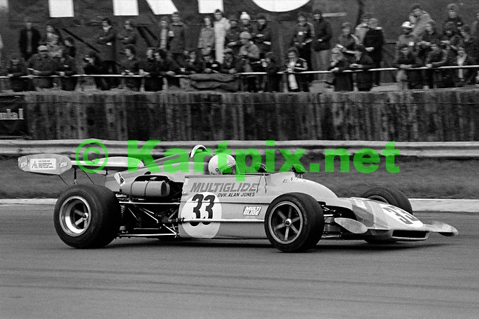 Australian Formula One driver Alan Jones on his way to victory in the John Player Formula Atlantic round at Silverstone in May 1974.