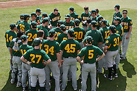 February 21, 2010:  Head Coach Tony Rossi of the Siena Saints talks with his team during a game at Melching Field at Conrad Park in DeLand, FL.  Siena lost to Stetson by the score of 8-7.  Photo By Mike Janes/Four Seam Images