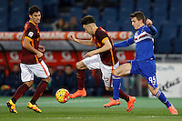 Calcio, Serie A: Roma vs Sampdoria. Roma, stadio Olimpico, 7 febbraio 2016.<br /> Roma's Stephan El Shaarawy, center, flanked by his teammate Diego Perotti, left, is challenged by Sampdoria's David Ivan during the Italian Serie A football match between Roma and Sampdoria at Rome's Olympic stadium, 7 January 2016.<br /> UPDATE IMAGES PRESS/Riccardo De Luca