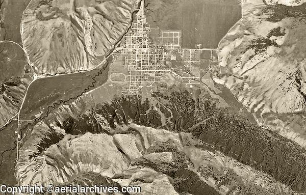historical aerial photograph Jackson, Wyoming, 1954