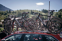 roof-racked Ridleys<br /> <br /> Stage 18: Moena › Ortisei/St. Urlich (137km)<br /> 100th Giro d'Italia 2017