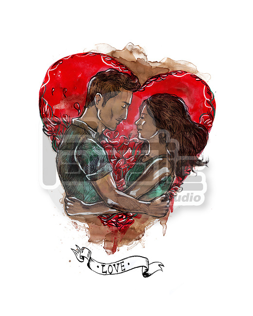 Illustrative image of young couple embracing each other representing love