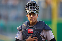 Tampa Tarpons catcher Carlos Narvaez (5) during a game against the Clearwater Threshers on June 10, 2021 at BayCare Ballpark in Clearwater, Florida.  (Mike Janes/Four Seam Images)