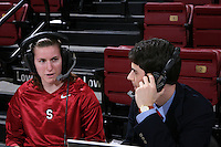 12 January 2008: Jeanette Pohlen talks with KZSU during Stanford's 83-49 win over Oregon at Maples Pavilion in Stanford, CA.