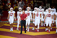 LOS ANGELES, CA - SEPTEMBER 11: Cullen Carroll leads the Stanford Cardinal quarterbacks and returners out to the field before a game between University of Southern California and Stanford Football at Los Angeles Memorial Coliseum on September 11, 2021 in Los Angeles, California.