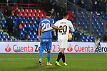 Getafe CF's Nemanja Maksimovic and Valencia CF's Ferran Torres during La Liga match between Getafe CF and Valencia CF at Coliseum Alfonso Perez in Getafe, Spain. November 10, 2018.