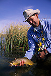 Tim Tollett with a nice brown trout at Tash Ranch, Montana.