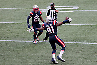 27th September 2020, Foxborough, New England, USA;  New England Patriots defensive lineman Deatrich Wise Jr. (91) celebrates his touchdown with New England Patriots defensive back Adrian Phillips (21) during the game between the New England Patriots and the Las Vegas Raiders