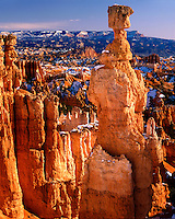 Morning light on Thor's Hammer viewed from Sunset Point; Bryce Canyon National Park, UT