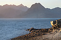 View of the Cuillin Hills across Loch Scavaig from Elgol Beach. Isle of Skye, Inner Hebrides, Scotland, UK. March.