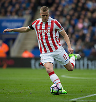 April 1st 2017, King Power Stadium, Leicester, England; EPL Premiership football, Leicester versus Stoke City; Ryan Shawcross of Stoke City on the ball as he prepares to kick the ball down field