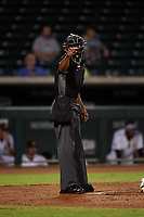 Home plate umpire Edwin Moscoso calls a strike on a batter during an Arizona Fall League game between the Scottsdale Scorpions and Mesa Solar Sox on September 18, 2019 at Sloan Park in Mesa, Arizona. Scottsdale defeated Mesa 5-4. (Zachary Lucy/Four Seam Images)