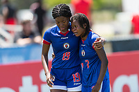 Bradenton, FL - Sunday, June 12, 2018: Milan Pierre, Abaina Louis prior to a U-17 Women's Championship 3rd place match between Canada and Haiti at IMG Academy. Canada defeated Haiti 2-1.