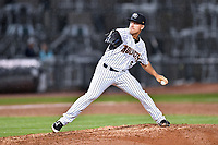 Southern Division pitcher Trevor Lane (5) of the Charleston RiverDogs delivers a pitch during the South Atlantic League All Star Game at Spirit Communications Park on June 20, 2017 in Columbia, South Carolina. The game ended in a tie 3-3 after seven innings. (Tony Farlow/Four Seam Images)