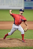 Williamsport Crosscutters pitcher Preston Packrall (27) delivers a pitch during a game against the Batavia Muckdogs on August 26, 2014 at Dwyer Stadium in Batavia, New York.  Williamsport defeated Batavia 8-1.  (Mike Janes/Four Seam Images)