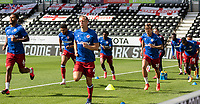 12th September 2020; Pride Park, Derby, East Midlands; English Championship Football, Derby County versus Reading; Reading players warming up with some sprints before the match