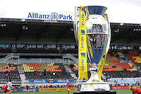 The Aviva Premiership trophy on display ahead of the semi final match between Saracens and Leicester Tigers at Allianz Park on Saturday 21st May 2016 (Photo: Rob Munro/Stewart Communications)