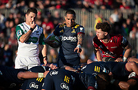 Aaron Smith prepares to feed a scrum during the 2020 Super Rugby match between the Crusaders and Highlanders at Orangetheory Stadium in Christchurch, New Zealand on Saturday, 9 August 2020. Photo: Joe Johnson / lintottphoto.co.nz