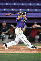 Center fielder Ben Anderson (17) of the Furman Paladins bats in game two of a doubleheader against the Harvard Crimson on Friday, March 16, 2018, at Latham Baseball Stadium on the Furman University campus in Greenville, South Carolina. Furman won, 7-6. (Tom Priddy/Four Seam Images)