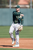 Oakland Athletics infielder JP Sportman (21) during Spring Training Camp on February 24, 2018 at Lew Wolff Training Complex in Mesa, Arizona. (Zachary Lucy/Four Seam Images)