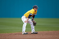 UNCG Spartans shortstop Zack Budzik (2) on defense against the San Diego State Aztecs at Springs Brooks Stadium on February 16, 2020 in Conway, South Carolina. The Spartans defeated the Aztecs 11-4.  (Brian Westerholt/Four Seam Images)