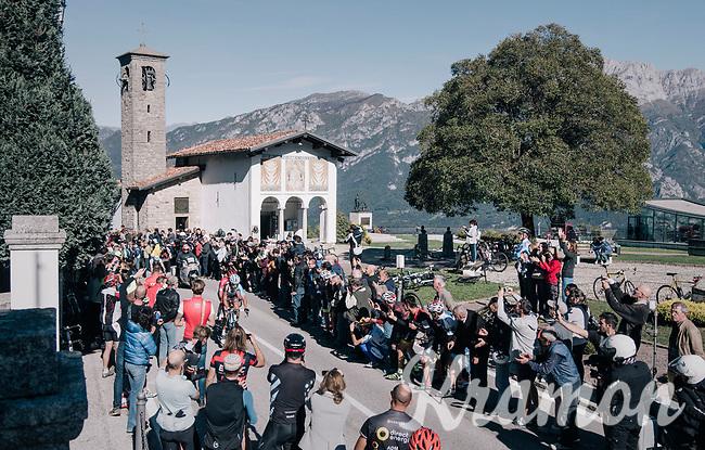 first riders passing by the famous Madonna del Ghisallo chapel (754m)<br /> <br /> Il Lombardia 2017<br /> Bergamo to Como (ITA) 247km