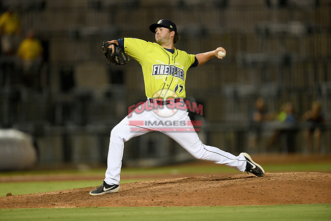 Pitcher Connor Wollersheim (17) of the Columbia Fireflies delivers a pitch in a game against the Hickory Crawdads on Wednesday, August 28, 2019, at Segra Park in Columbia, South Carolina. Hickory won, 7-0. (Tom Priddy/Four Seam Images)