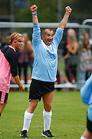 London, UK on Sunday 31st August, 2014. Louis Spence  celebrates making a tackle during the Soccer Six charity celebrity football tournament at Mile End Stadium, London.
