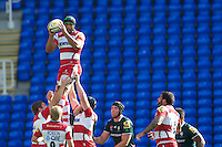 Akapusi Qera of Gloucester Rugby wins a lineout during the Aviva Premiership match between London Irish and Gloucester Rugby at the Madejski Stadium on Saturday 8th September 2012 (Photo by Rob Munro)